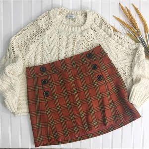 Gap Wool Blend Plaid Lined Mini Skirt Size 4